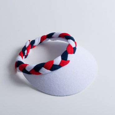 White Navy Red Braided Terry Cloth Sun Visors
