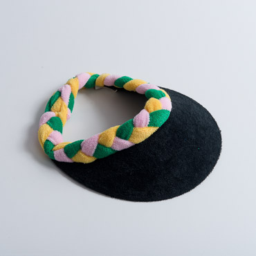 Black Brim Yellow Green Pink Braided Terry Cloth Sun Visors