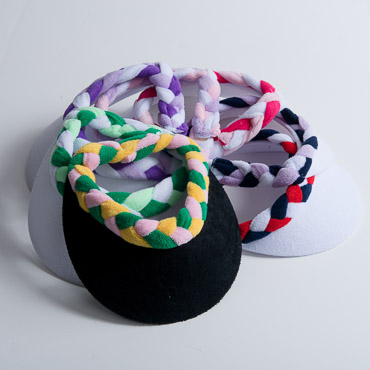 6 Assorted Colors Braided Terry Cloth Sun Visors