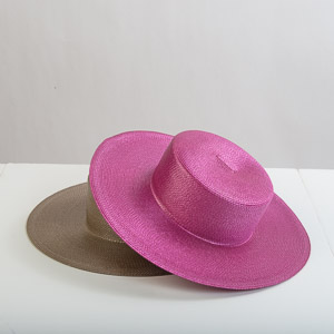 Medium Brim Blocked Untrimmed Poly Straw Hat Base