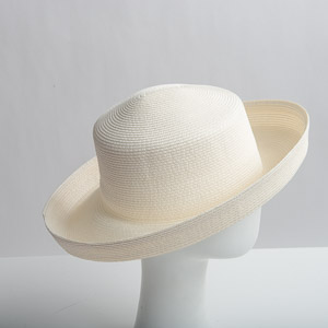 Dull Medium Brim Blocked Untrimmed Poly Straw Hat Base