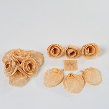 Natural Three Rose Sinamay DIY Set