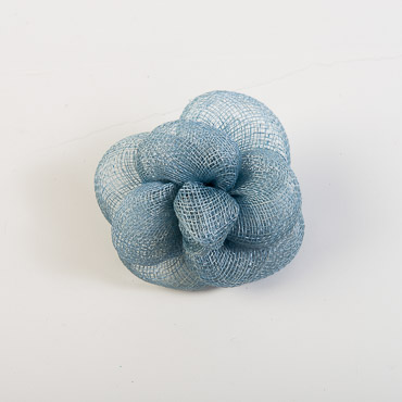 Light Blue Sinamay Camellia Braided Bow Trims