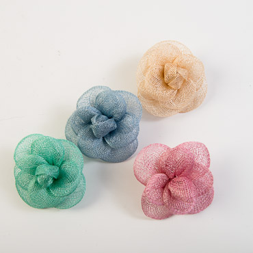 Sinamay Camellia Braided Bow Trims