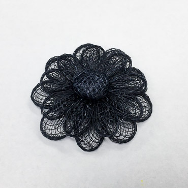 Navy Large Sinamay Flower Trims