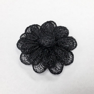 Black Large Sinamay Flower Trims