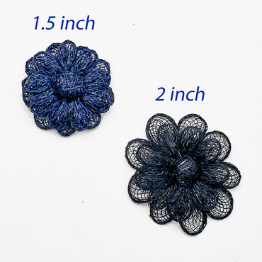 Navy Small Sinamay Flower Trims