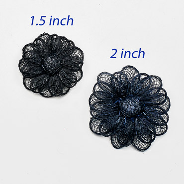 Black Small Sinamay Flower Trims