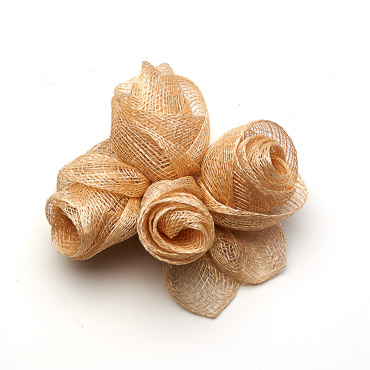 Natural 4 Sinamay Rose Bow Trims