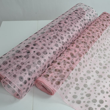 Medium Sizing Floating Polka Dot Printed Sinamay Fabric